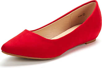 Dream Pairs Womens Jilian Slip On Pointed Toe Low Wedge Ballet Flats Pumps Shoes Red Suede Size 6.5 US / 4.5 UK