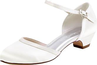 Elegantpark HC1621 Wedding Shoes for Bride Low Heel Women Bridal Shoes Closed Toe Block Heels Buckle Satin Wedding Bridal Court Shoes Ivory UK 4(EU 37)