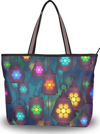 Lorona Women Lantern Lamp Colorful Light Canvas Shoulder Hand Bag Large Capacity Tote Bag
