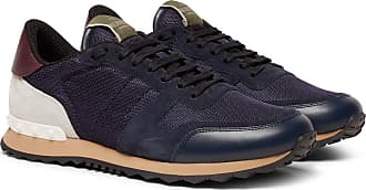 Valentino Valentino Garavani Rockrunner Mesh, Leather And Suede Sneakers - Navy