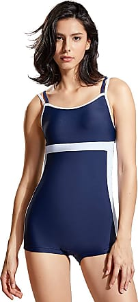Delimira Womens Boyshort Swimsuit Boyleg One Piece Modest Swimwear Navy 18
