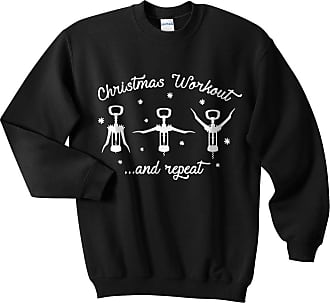 Sanfran Clothing Sanfran - Christmas Workout Top Funny Wine Prosecco Fitness Gym Ugly Jumper Sweater - Large/Black