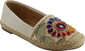 Refresh IE90 Womens Cap Toe Espadrille Floral Stitched Flats, Color:Beige, Size:9