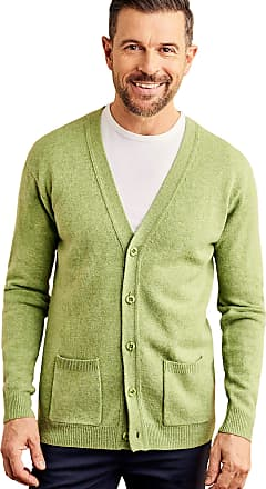 WoolOvers Mens Lambswool V Neck Knitted Cardigan Pale Pea Marl, XXL