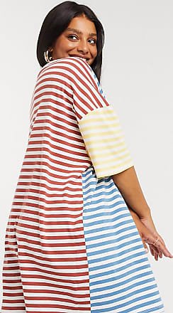 Asos Curve ASOS DESIGN Curve oversized t-shirt dress in cut about stripe-White