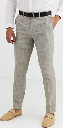 Topman slim suit trousers in stone check