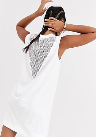 Love Moschino Speed - Ärmelloses Kleid mit Mesh-Einsatz-Weiß