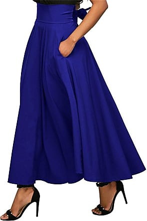 TOMWELL Womens Summer Casual Basic Solid Versatile Stretchy Flared Casual High Waist Maxi Skirt with Pockets Blue UK 12