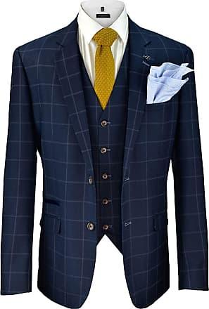 Cavani Mens Smart Casual Designer Macy Navy Check Tweed Trousers Peaky Blinders