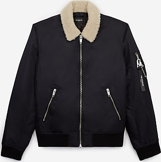 The Kooples Navy blue satin bomber jacket, sheepskin neck - MEN