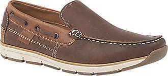 Roamers Superlight Mens Leather Slip On Apron Tab Moccasin Leisure Shoes (9 UK) (Brown)