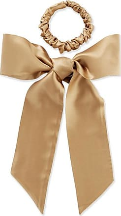 Slip Silk Ribbon And Hair Tie Set - Gold
