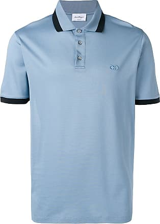 Salvatore Ferragamo Camisa polo com bordado Gancio - Azul