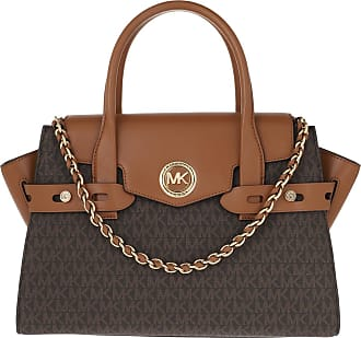 Michael Kors Tote - Carmen Large Flap Satchel Brown Acorn - brown - Tote for ladies
