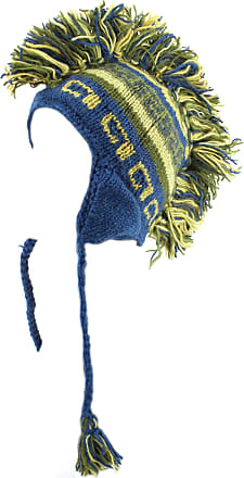 Loud Elephant Blue and Green Wool Ear Flap hat with Mohawk and Fleece Lining (Adult)