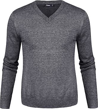 iClosam Mens Set-in Classic Sweater Pullover Jumper Knitwear (Black White, XXL)