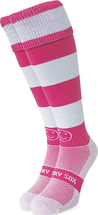Wackysox Rugby Socks, Hockey Socks - Pink and White Hoop Sports Socks