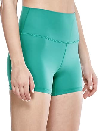 CRZ YOGA Womens Naked Feeling II High Waist Tummy Control Sports Workout Yoga Short Leggings - 4 Inches Teal Shadow 14