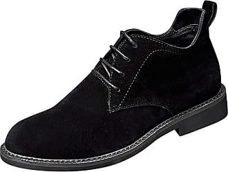 Daytwork Men Shoes Slip Ons - Mens Suede Leather Lace Ups Oxfords Shoes Classic Business Casual Work Dress Pointed Martin Boots Black