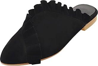 RAZAMAZA Women Fashion Closed Toe Mules Sandals Low Heel Black Size 43 Asian