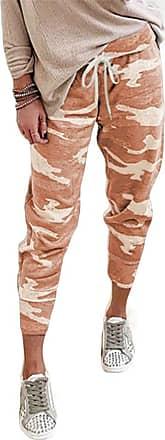 QIYUN.Z Women Camouflage Long Pants Camo Cargo Trousers Casual Summer Pants Orange 2XL