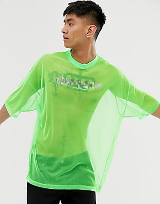 ed065189031980 Asos Oversize-T-Shirt aus Netzstoff in Neon mit Hot-Fix-Strassdesign