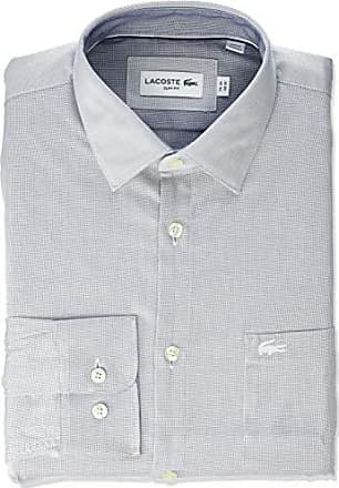 62dc08cd Lacoste Mens L/S Textured SEMI Wide Collar Slim FIT Woven Shirt, Inkwell,
