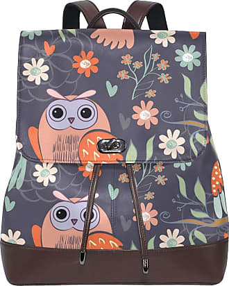 Ahomy Ladies Fashion PU Leather Backpack Cute Owl Flower Cartoon Anti-Theft Rucksack Shoulder Bag