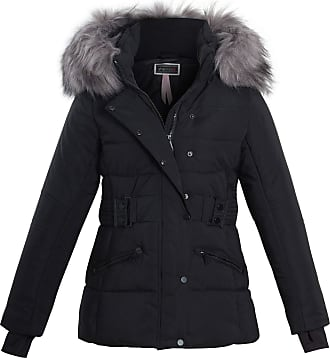 Shelikes Womens Pink Grey Contrast Zip Belt Quilted Padded Long Winter Coat Size (UK 14, Black (1747))