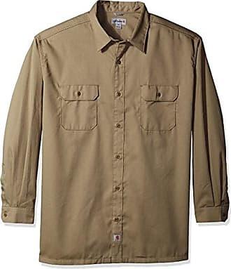 Carhartt Work in Progress Mens Big-Tall Twill Work Long Shirt Button Front, Khaki, 4X-Large