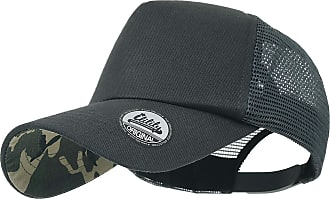 Ililily Extra Big Size Adjustable Mesh Back Curved Baseball Cap Trucker Hat (Large, Charcoal Camo)