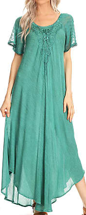 Sakkas 16611 - Helena Embroidered Lace-Up Caftan Dress/Cover Up with Eyelet Sleeves - Aqua - OS