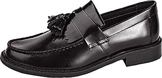 Roamers Mens Roamers Skinhead Polished Leather Tassle Loafers Oxblood Black Toggle Saddle Shoes - Black Hi-Shine Leather, Mens UK 10 / EU 44