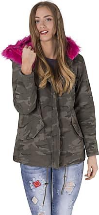 Noroze Womens Faux Pink Fur Parka Coat Hood Jacket (Camouflage, 14)