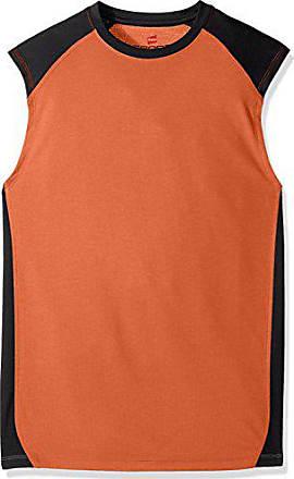 Hanes Mens Sport Performance Muscle Tee, Team Orange Heather/Stealth, Large