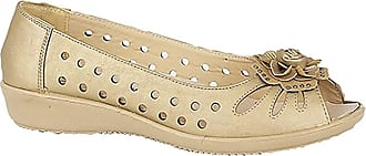 Boulevard Ladies Punched Open Toe Flower Trim Casual (5 UK, Light Gold)