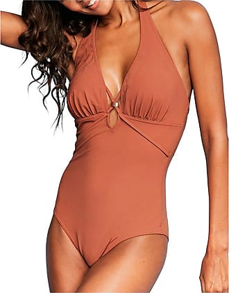 Figleaves Womens Icon Strapping Non-Wired Halter Shaping Swimsuit Size 16 Regular in Rust