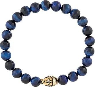 Nialaya beaded engraved head bracelet - Blue