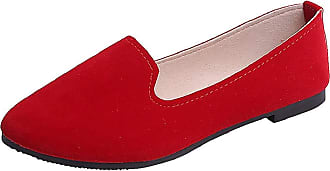Yvelands Leather Loafer Shoes Women Ladies Casual Solid Color Shallow Slip On Single Shoes Girls Loafer Flats Single Shoes Work Shoes Red