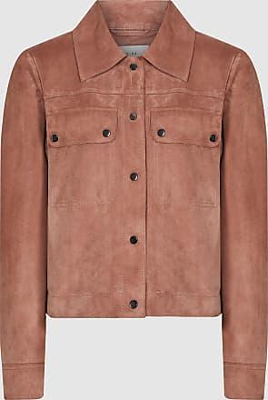 Reiss Nina - Suede Trucker Jacket in Pale Pink, Womens, Size 12