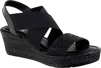Easy Street Womens Ysabelle Wedge Sandal, Black, 7.5 X-Wide