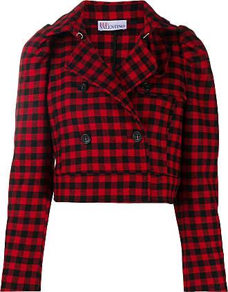 Red Valentino gingham-check cropped jacket - Vermelho