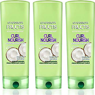Garnier Fructis Curl Nourish Paraben-free Conditioner made with Coconut Oil and Glycerin for stronger, smoother, nourished and 24 hour Frizz-Resistant Curls, 3 count, Packaging May Vary