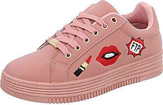 db41206ace6936 Ital-Design Sneakers Low Damen-Schuhe Sneakers Low Sneakers Schnürsenkel  Freizeitschuhe Altrosa