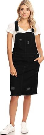 Anna Kaci Junior Womens Distressed Denim Adjustable Strap Overall Dress, Black, XX-Large