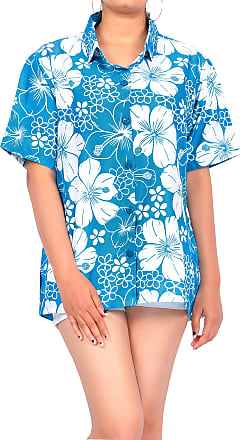 La Leela Womens Hawaiian Blouse Top Collar Short Sleeve Button Down V Neck Casual Work Yoga Shirt Summer Holiday, M - UK Size : 18 - 20, Teal Blue_x5