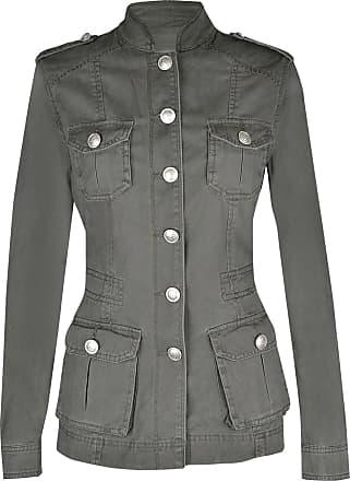 Noroze Ladies Military Style Summer Jacket (18(46), Silver Button Khaki)