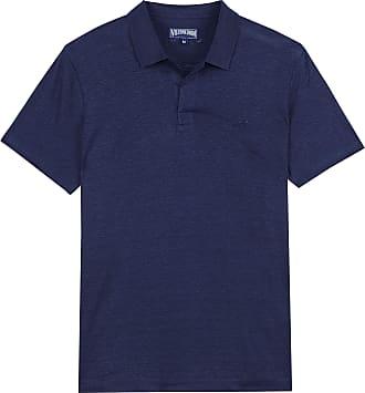 Vilebrequin Men Linen Jersey Polo Shirt Solid - Navy - XL