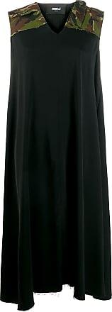 Yang Li Vestido midi com recorte camuflado - Preto
