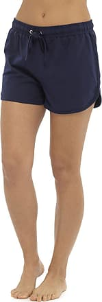 Tom Franks Womens Ladies Solid Colour Elasticated Cotton Blend Summer Beach Shortie Shorts - Navy Blue - 20-22